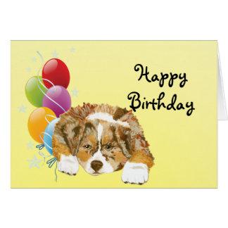 Red Merle Aussie Puppy Happy Birthday Card