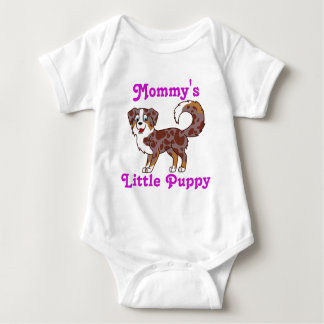 Red Merle Australian Shepherd with Pink Text Baby Bodysuit