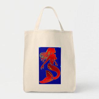 red mermaid grocery tote