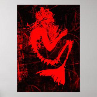 Red Mermaid Skeleton Poster