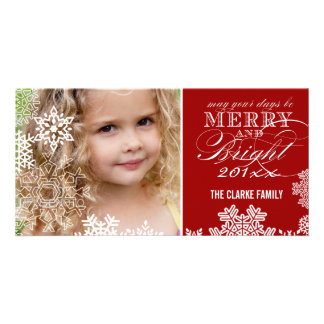 RED MERRY AND BRIGHT HOLIDAY PHOTO CARD