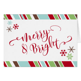 Red Merry & Bright Snowflakes & Diagonal Stripes Card