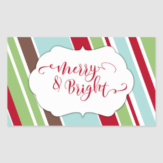 Red Merry & Bright Typography w/ Diagonal Stripes Rectangular Sticker