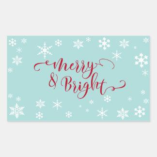 Red Merry & Bright w/ White Snowflakes on Blue Rectangular Sticker