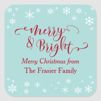 Red Merry & Bright w/ White Snowflakes on Blue Square Sticker