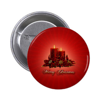 Red Merry Christmas Candle Button