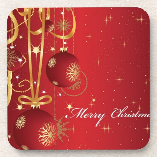 Red Merry Christmas Card design Beverage Coasters