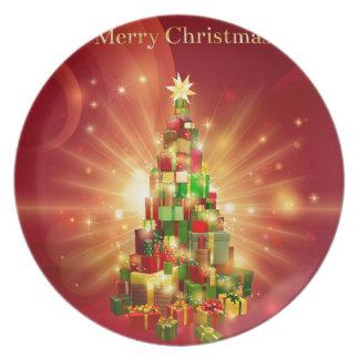 Red Merry Christmas Gift Tree Design Dinner Plates