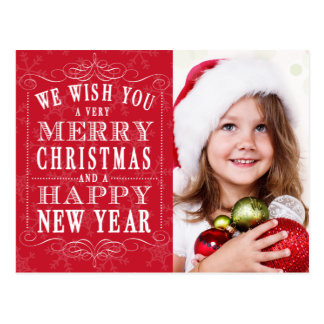 Red Merry Christmas, Happy New Year Photo Postcard