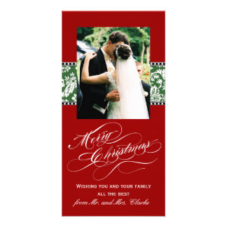 Red Merry Christmas Photo Cards Green Damask