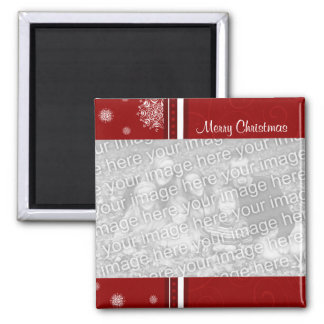 Red Merry Christmas Photo Magnet