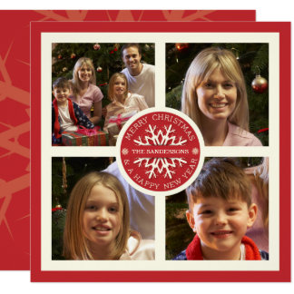 Red Merry Christmas Snowflake 4 Photo Card 13 Cm X 13 Cm Square Invitation Card