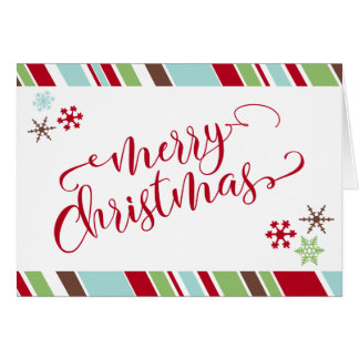 Red Merry Christmas Snowflakes & Diagonal Stripes Card