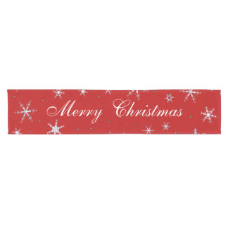 Red Merry Christmas Snowflakes Short Table Runner