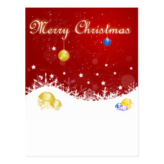 Red Merry Christmas Stars and Snowflakes Postcard
