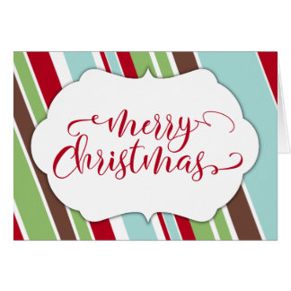 Red Merry Christmas Typography w/ Diagonal Stripes Card