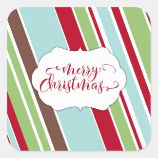Red Merry Christmas Typography w/ Diagonal Stripes Square Sticker