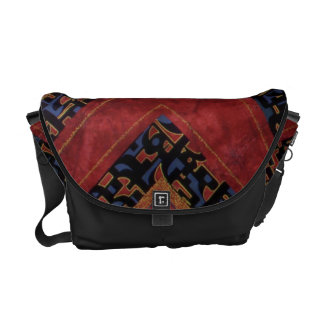 Red messenger bag with calligraphy-inspired desgin
