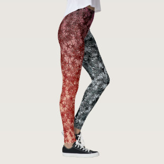 Red Metal Ninja Throwing Stars Metallic Foil Look Leggings