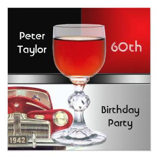 Red Metal Silver Red Car Mens 60th Birthday Man 13 Cm X 13 Cm Square Invitation Card