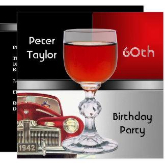 Red Metal Silver Red Car Mens 60th Birthday Man Card