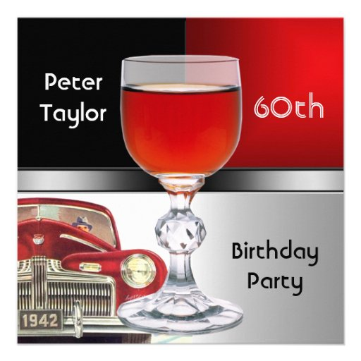 Red Metal Silver Red Car Mens 60th Birthday Man Personalized Invitations