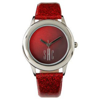 Red Metallic and Glitter Watch with Monogram