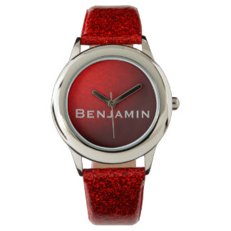 Red Metallic and Glitter Watch with Name