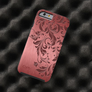 Red Metallic Brushed Aluminum & Burgundy Lace Tough iPhone 6 Case