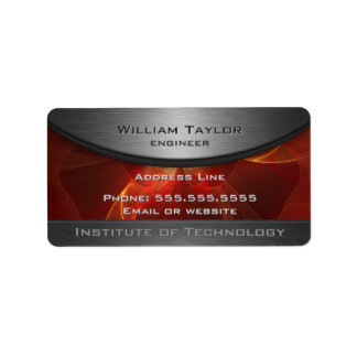 Red Metallic Elegance Address Label