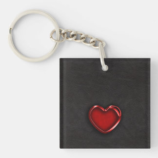 Red Metallic Heart on Black Leather Key Ring