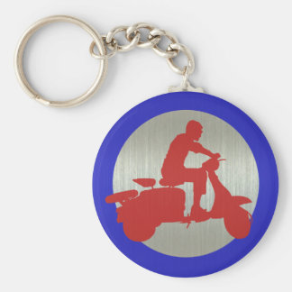 Red Metallic Scooter Rider Target Key Ring
