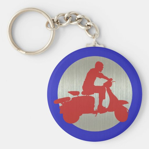 Red Metallic Scooter Rider Target Key Chain