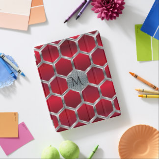 Red & Metallic Silver Geometric Pattern iPad Smart Cover