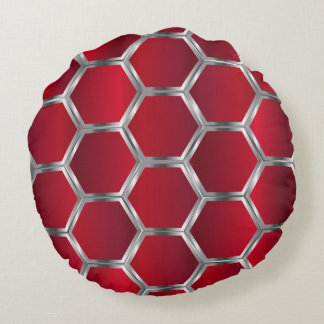 Red & Metallic Silver Geometric Pattern Round Cushion