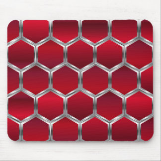 Red & Metallic Silver Octagons Pattern Mouse Pad