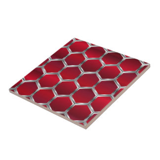 Red & Metallic Silver Octagons Pattern Small Square Tile