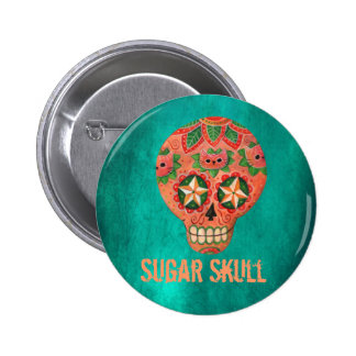 Red Mexican Sugar Skull 6 Cm Round Badge
