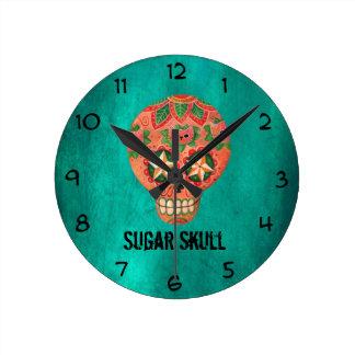 Red Mexican Sugar Skull Clocks