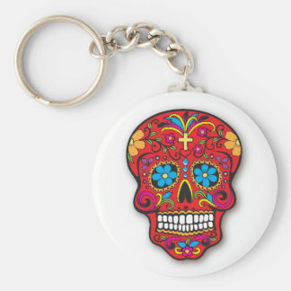 Red Mexican Sugar Skull Day of the Dead Key Ring