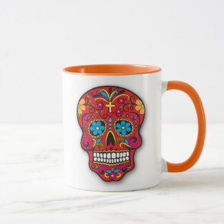 Red Mexican Sugar Skull Day of the Dead Mug