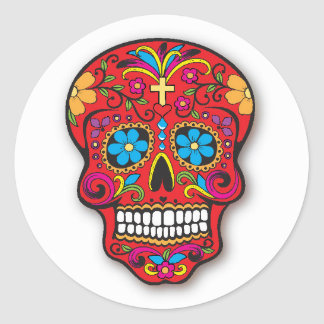 Red Mexican Sugar Skull Day of the Dead Round Sticker