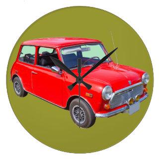 Red Mini Cooper Antique Car Large Clock