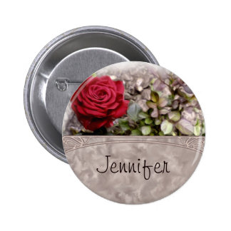 Red Mini Rose Name Tag Round Pin-back Button