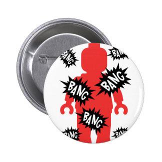 Red Minifig BANG BANG BANG Pinback Button