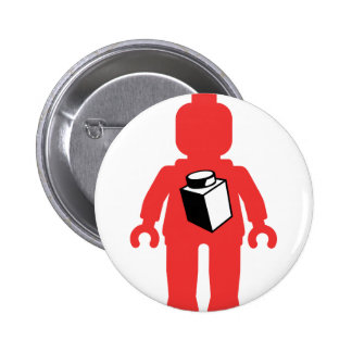 Red Minifig with 1 x 1 Brick Logo Pinback Button