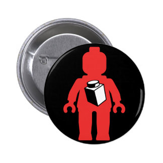 Red Minifig with 1 x 1 Brick Logo Pinback Buttons