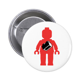 Red Minifig with 1 x 2 Brick Logo Pinback Button