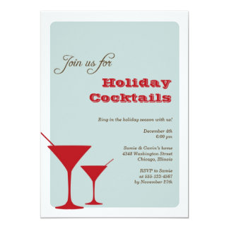 Red mint Christmas holiday cocktail martini retro Card