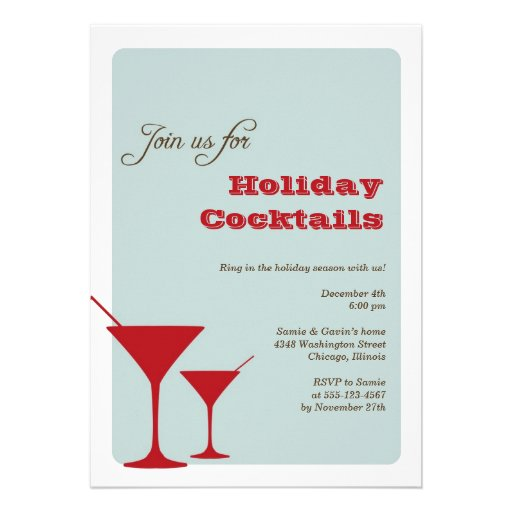 Red mint Christmas holiday cocktail martini retro Personalized Announcement